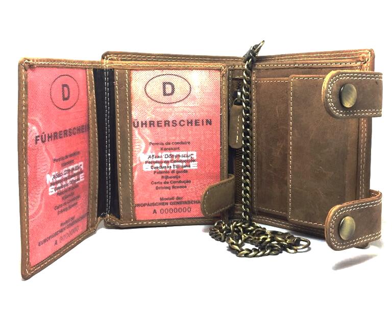 Herren Voll Leder Geldbörse mit RFID und NFC Schutz im Hochformat mit Vintage Leder und Sicherheitskette