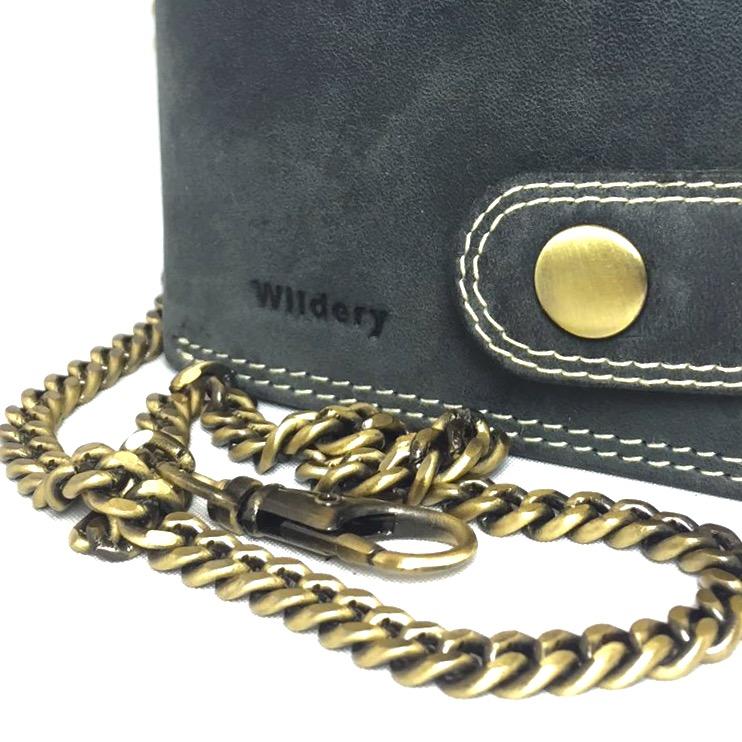 Herren Voll Leder Geldbörse mit RFID und NFC Schutz im Vintage Look mit Sicherheitskette in Schwarz