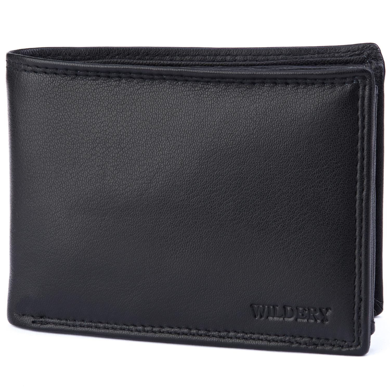 Herren Geldbörse mit RFID und NFC Schutz im Querformat in schlichtem schwarz