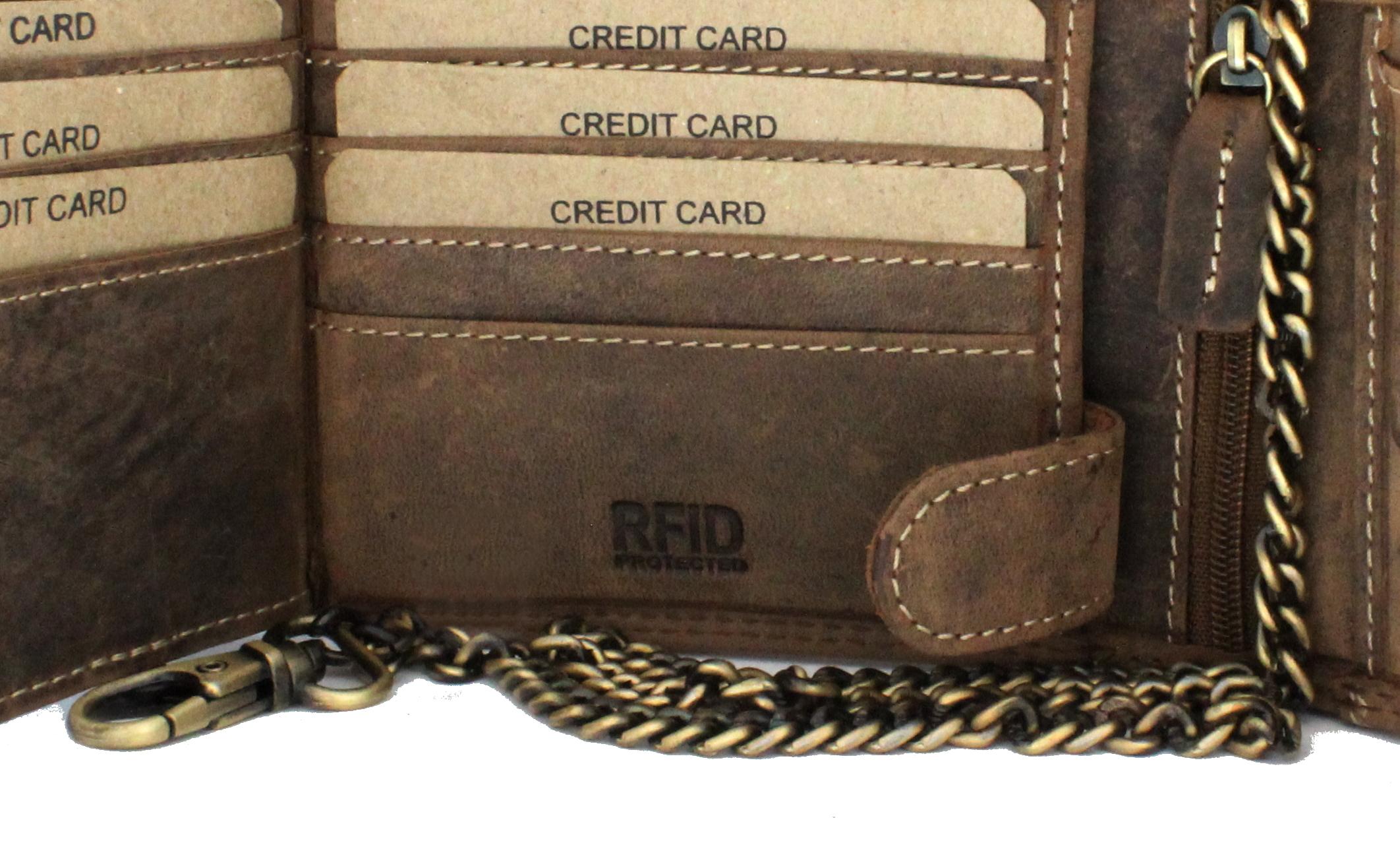 Herren Voll Leder Geldbörse mit RFID und NFC Schutz im Querformat im Vintage Look mit Sicherheitskette