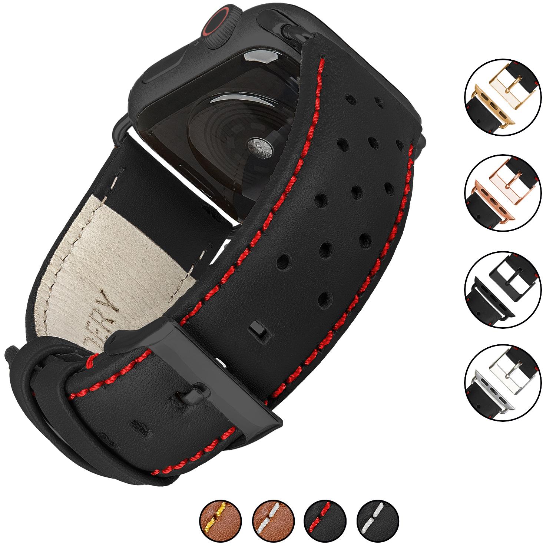 Wildery Ersatz Leder Armband für Apple Watch Series 1/2/3 und 4/5 mit roten Nadelstreifen in schwarz