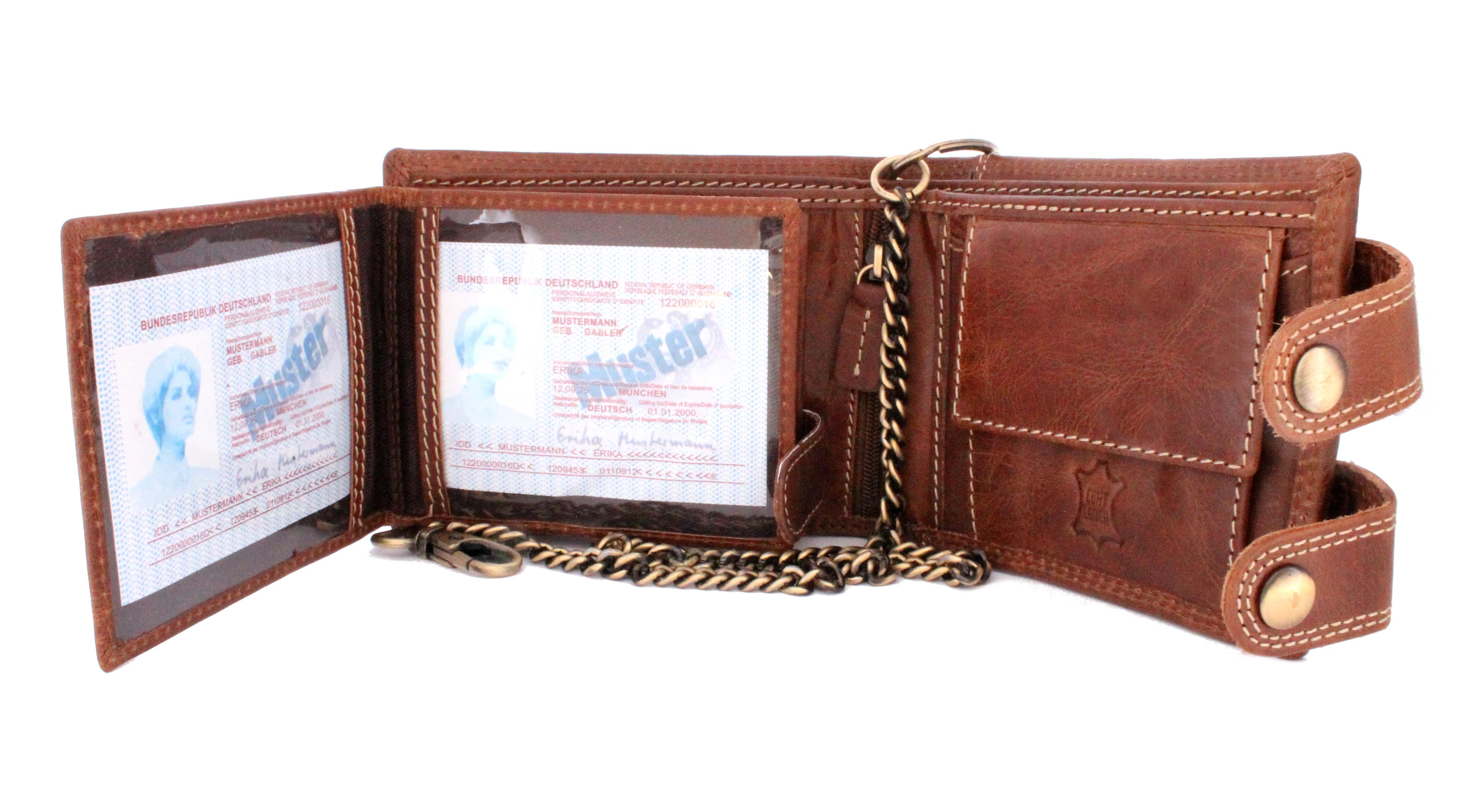 Herren Voll Leder Geldbörse mit RFID und NFC Schutz im Querformat mit Sicherheitskette