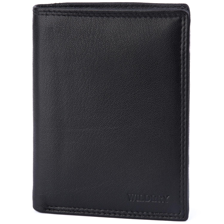Herren Geldbörse mit RFID und NFC Schutz im Hochformat in schlichtem schwarz