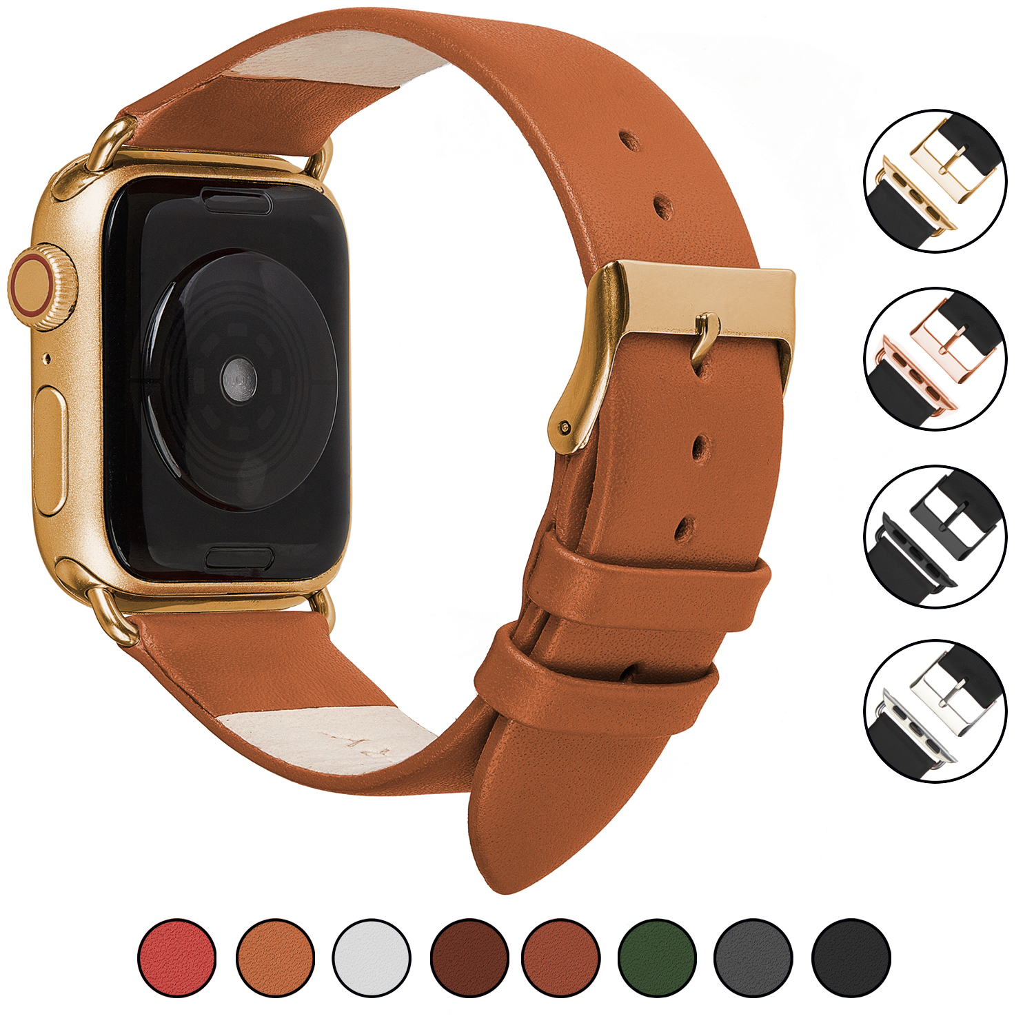 Wildery Leder Armband für Apple Watch Series 1/2/3 und 4/5 in beige