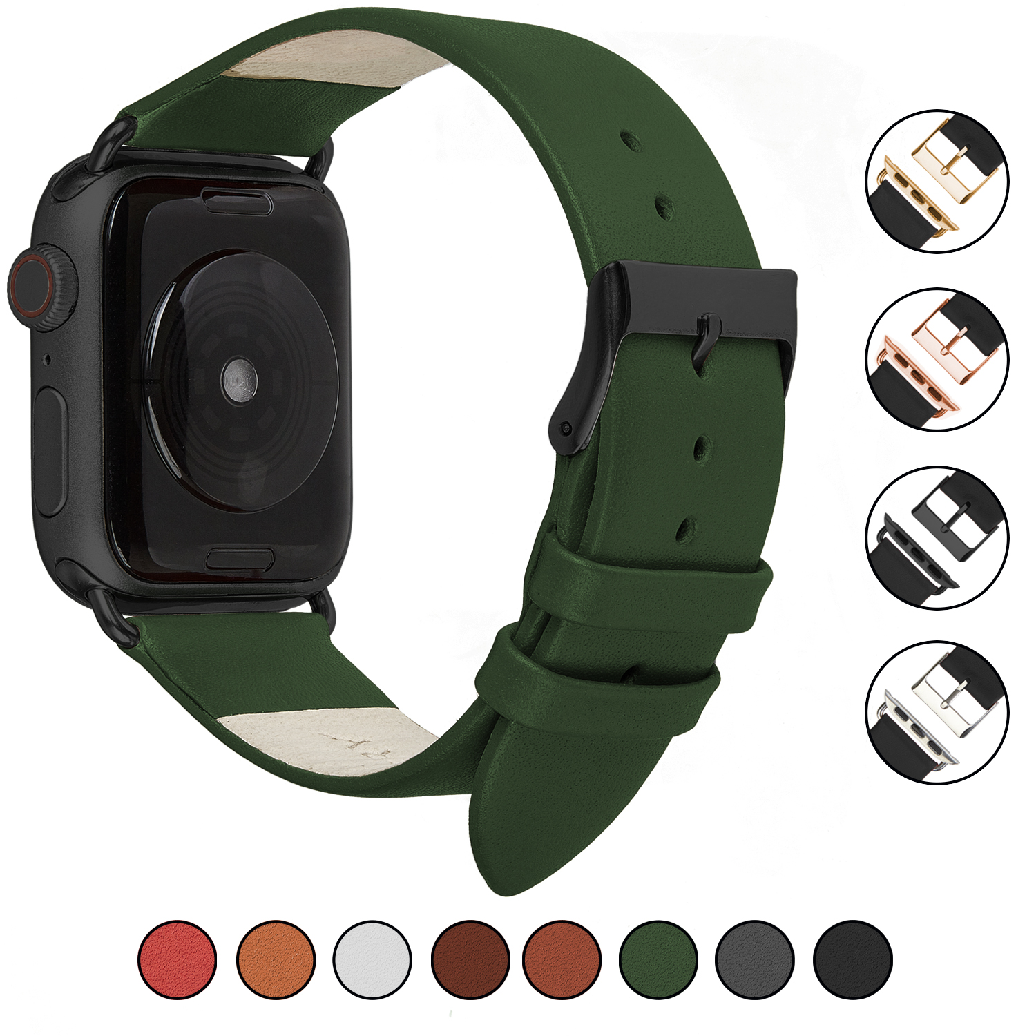 Wildery Leder Armband für Apple Watch Series 1/2/3 und 4/5 in olivgrün