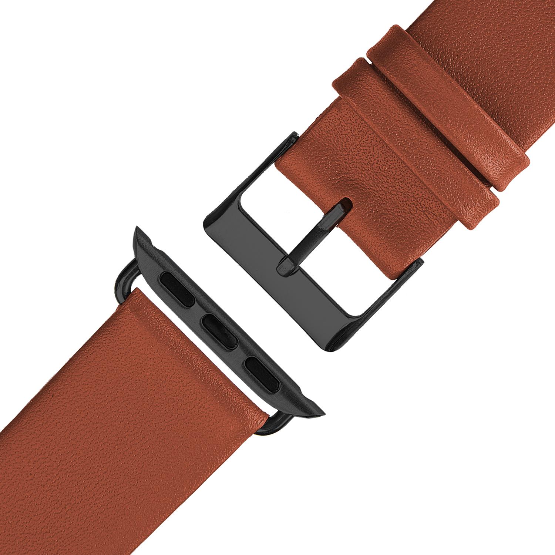Wildery Leder Armband für Apple Watch Series 1/2/3 und 4/5 in braun