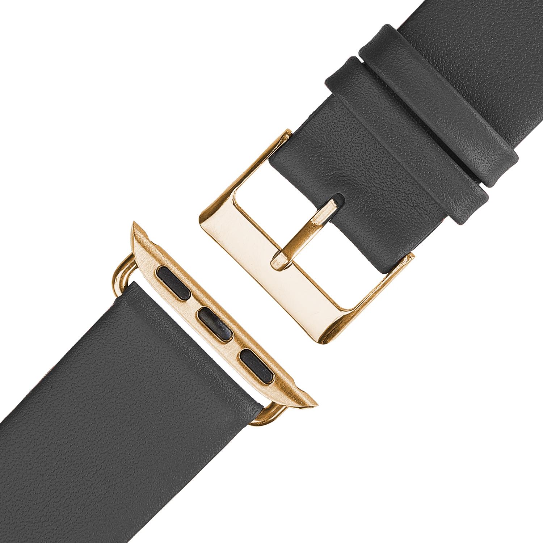 Wildery Leder Armband für Apple Watch Series 1/2/3 und 4/5 in anthrazit