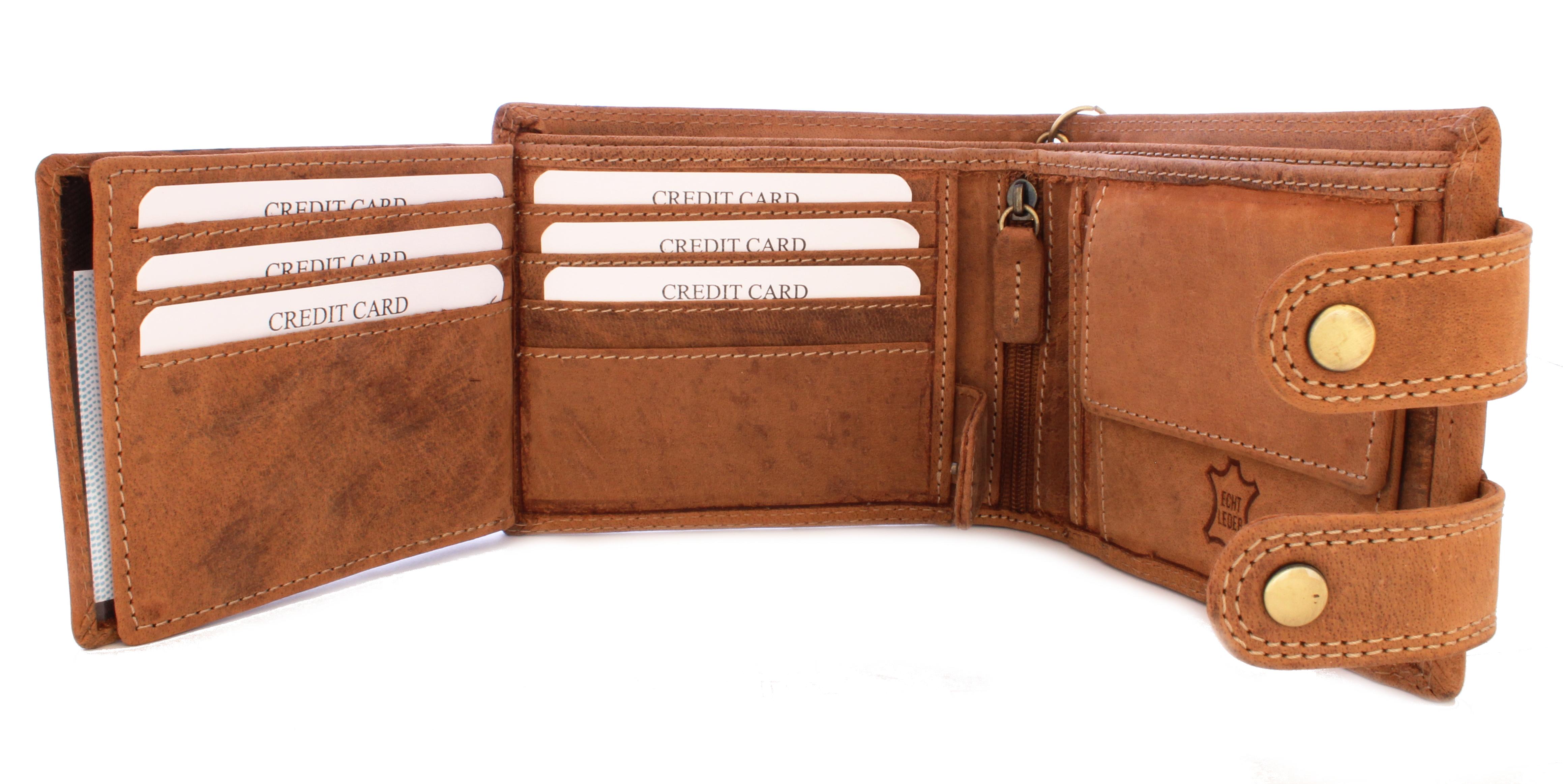 Herren Voll Leder Geldbörse im Vintage Look mit Adler Prägung und Sicherheitskette in Beige