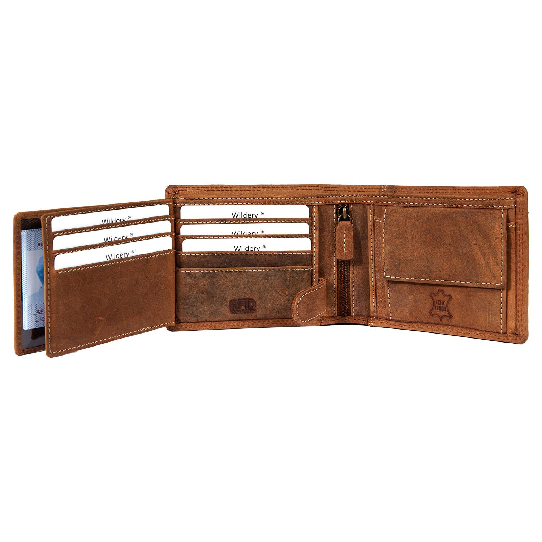 Herren Vintage Voll Leder Geldbörse mit RFID und NFC Schutz im Querformat