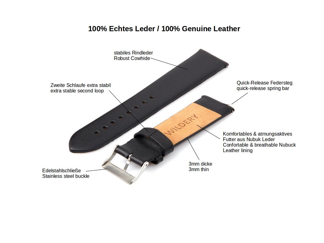 Wildery echt Leder Armband für Samsung Gear S2/S3, Galaxy Watch 42mm, 46mm und Active 1/2 in schwarz