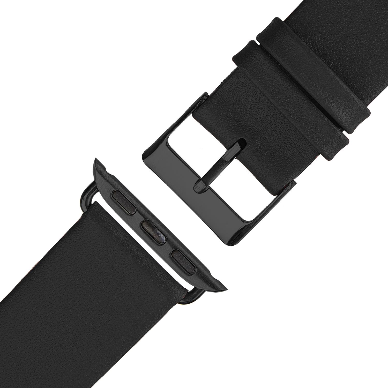 Wildery Leder Armband für Apple Watch Series 1/2/3 und 4/5 in schwarz