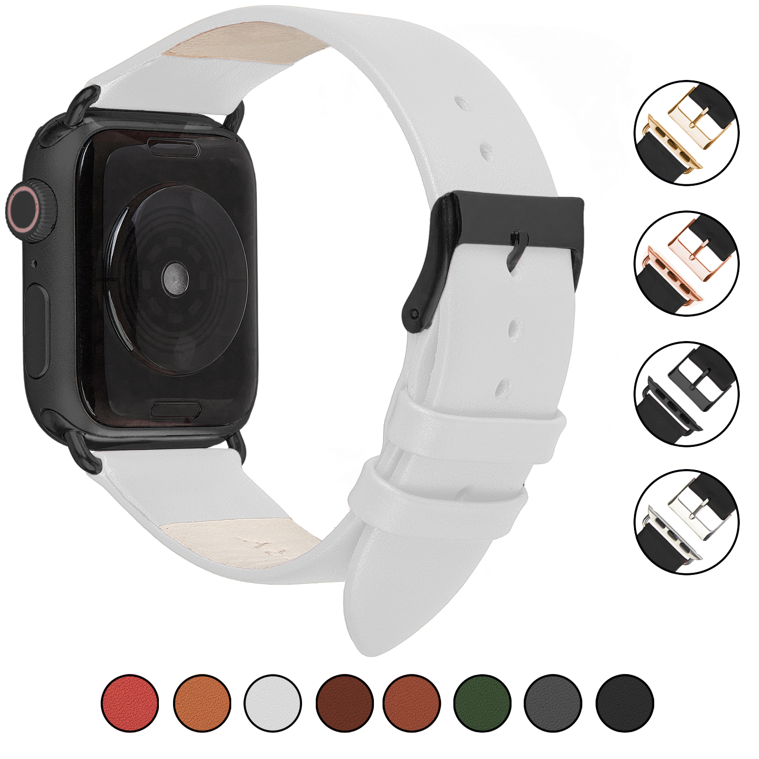 Wildery Leder Armband für Apple Watch Series 1/2/3 und 4/5 in weiß