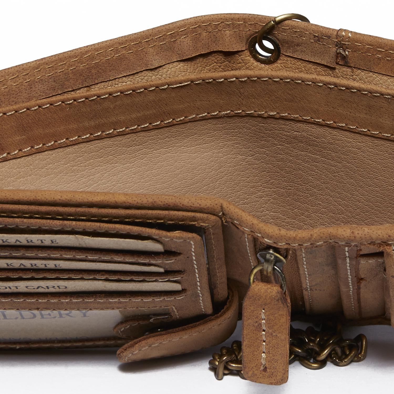 Herren Voll Leder Geldbörse mit RFID und NFC Schutz im Vintage Look mit Sicherheitskette in Beige