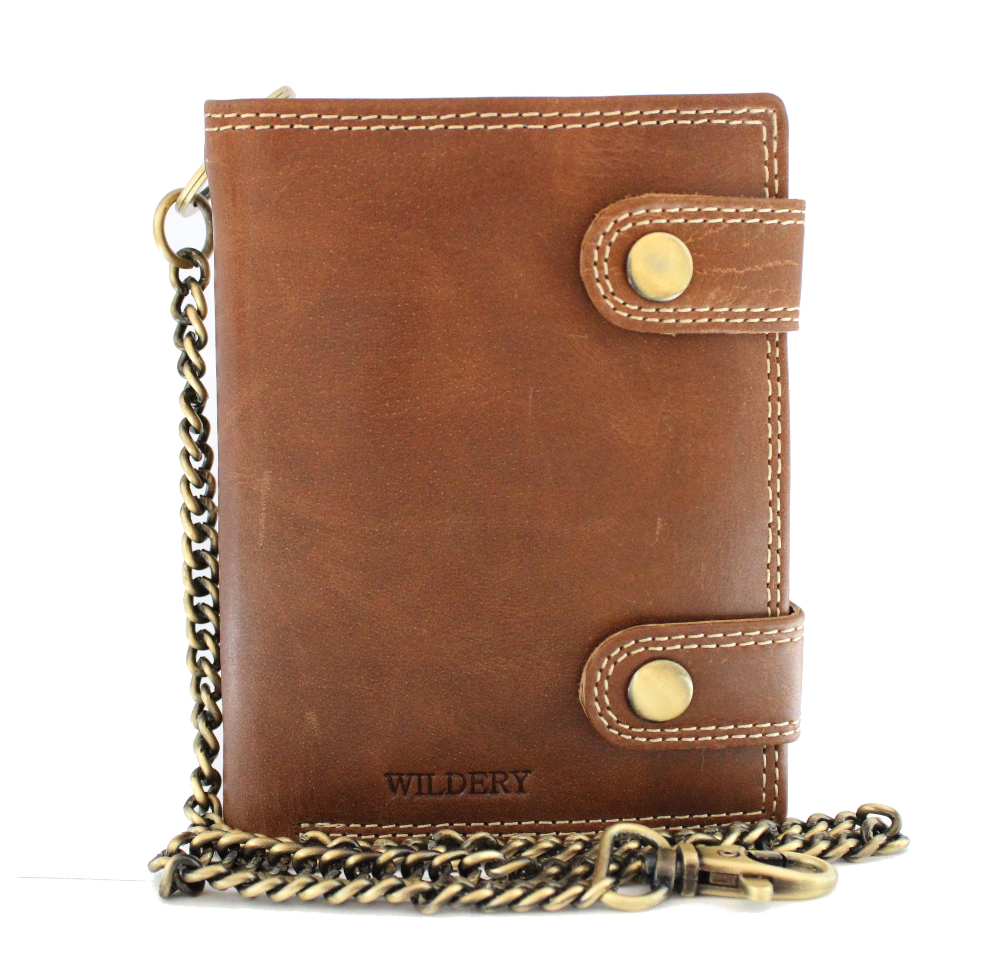 Herren Voll Leder Geldbörse mit RFID und NFC Schutz mit Sicherheitskette